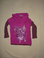 T-shirt col roulé rose chat Little Princess taille 2 ans