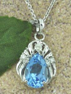 4.30 ct 14k Solid White Gold Natural Diamond & Pear Shape Blue Topaz Pendant USA
