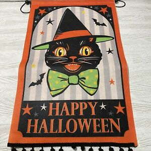 Black Cat Wall Hanging Halloween Decoration Tapestry Vintage Look Felt Witch Hat
