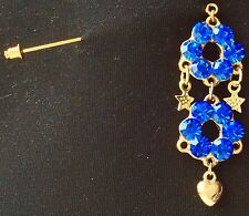 Royal Blue With Drops Brooch On Stick Pin Muslim Head Cover Hijab Scarf Pin