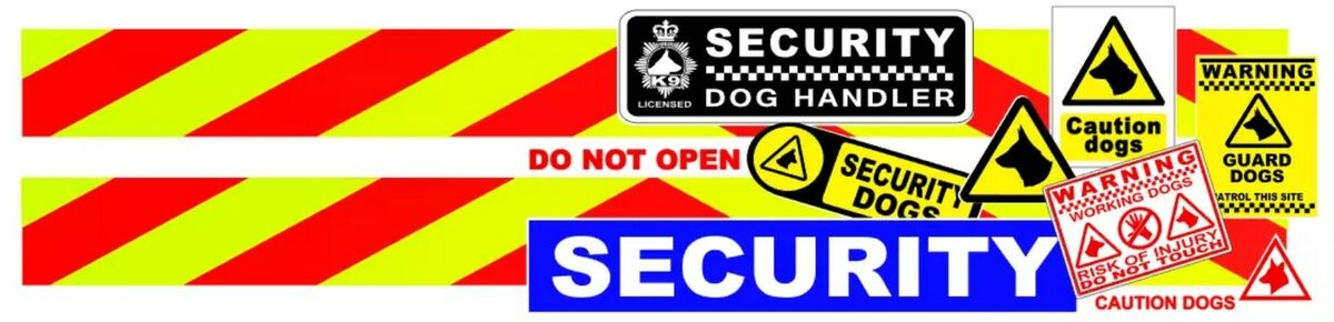 MAGNETS //SIZES STICKERS OPTIONS 2 x SECURITY DOG UNIT VEHICLE SIGNS cds7