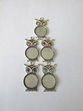 glass jewellery craft UK 5pc tibetan style rhombus pendant cabochon setting