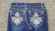 LA Idol Rhinestone Jewel Bling Pockets Ladies Fashion Distressed Straight Jeans