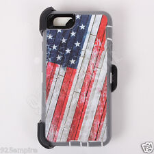 For iPhone 6/6s USA Flag Camo Case Cover(Belt Clip Fits Otterbox Defender)
