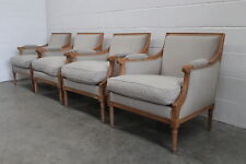 "Sublime Suite of 4 Gilles Nouailhac ""Versailles"" French Armchairs in Pale Woo..."