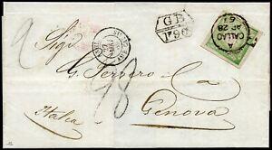 Peru 1869 Brief 1 Dinero Britische Auslandspost Callao nach Italien Nachporto/24