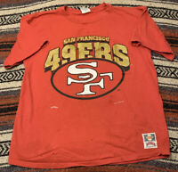 Vintage Nutmeg Mills San Francisco 49ers T Shirt Size XL 1994 USA Made Thrashed