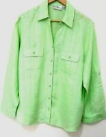 Studio Works Size USA 2X Green Shirt Blouse Striped Roll Tab Sleeve Button Down