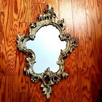 "VINTAGE 33"" ORNATE CAST BRASS WALL MIRROR WITH DRAGON GARDNER MIRROR CORP."