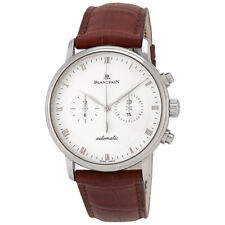Blancpain Villeret White Dial Mens Chronograph Leather Watch 4082-1542A-55B