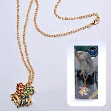 Harry Potter Hogwarts Crest Logo with Motto Golden Metal Pandent Charm Necklace