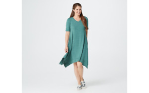 LOGO Lounge by Lori Goldstein Jersey Dress w/ Handkerchief Hem Teal XS A353529