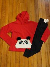 NWT Girls Justice Panda Critter Hoodie/Leggings Size 6 7