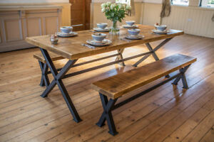 Industrial style rustic dining table and benches