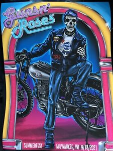 Guns N Roses Poster milwaukee 2021 9/18 concert tour fonzie gnr limited edition