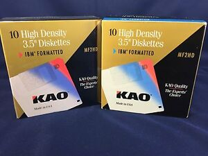 "Lot of 22 New KAO 3.5"" Diskettes MF2HD IBM Formatted"