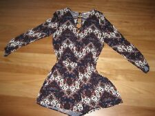 LADIES CUTE BLUE MULTI LONG SLEEVE SHORTS PLAYSUIT BY SUPRE - SIZE 8