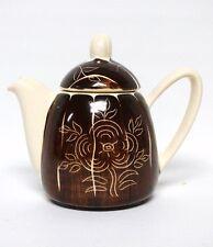 VTG Purinton Slipware Pottery Teapot Intaglio Brown Flower Pattern Mid Century