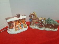 Vintage Christmas Horse with kids Music Box and toy store Christmas porcelain