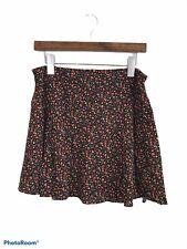 American Eagle Black Floral Ultra Flare Mini Skirt Size Medium Viscose Women's
