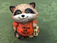 Vintage 1983 Hallmark Shirt Tales Merry Miniatures Halloween Raccoon Trk r Trt