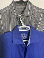 Bugatchi Uomo Mens L Flip Cuff Button Down Long Sleeve Dress Shirts Lot Of 2