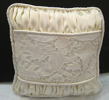 "small handmade vintage lace ring-bearers pillow with tie - 8"" square"