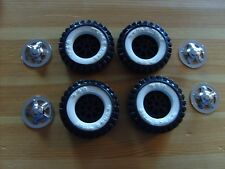 press steel toys, 4 PLASTIC TONKA TOY WHITE-WALL TIRES & 4 LATE MODEL HUBCAPS