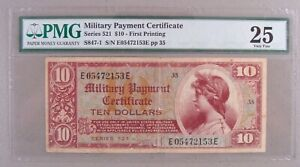 Military Payment Certificate MPC Series 521 $10 PMG Very Fine 25