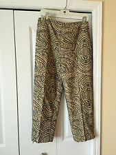Talbots Lined Tan Cotton/Linen Slacks w/ Navy Embroidery  12 Petite