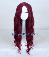XMAS GIFT 75cm Harajuku Long Curly Wine Red Fashion Wig No Bangs +a wig cap
