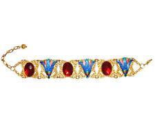 EGYPTIAN REVIVAL BRACELET Lotus Flower Red Rhinestone Gold Plt Panel Link Signed