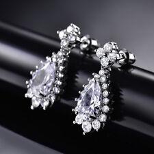 HUCHE Silver White Gold Filled Pear Drop Flower Diamond Sapphire Women Earrings