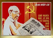 Luong Anh Dung Signed Ho Che Minh Propaganda Painting Vietnam Retro
