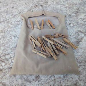 Vintage Canvas Hanging Clothespin Bag Line Holder + ~50 Varied Wood Clothespins
