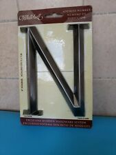 """House Address 6"""" Metal Letter """"N"""" Brushed Nickel by Whitehall. Screws provided."""