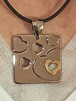SILVER Heart Necklace Pendant 24K Gold Love Jewelry Gift for girlfriend HANDMADE