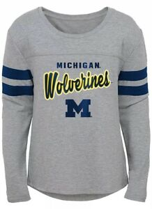 NCAA Youth Girls Field Armor Dolman Sleeve Top M -Michigan Wolverines