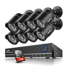 Sannce 3Tb 8ch 1080N Dvr Outdoor Bullet Black Security Cameras System Day/Night