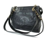 Authentic CHANEL Black Lambskin Leather Gold Chain Shoulder Bag Purse #31179