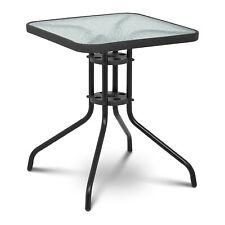 Bistrotisch 60x60cm Glas//Metall Schwarz Balkontisch Glastisch Gartentisch eckig