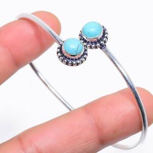 Santa Rosa Turquoise Gemstone Silver Jewelry Cuff Bracelet Adjustable RC408