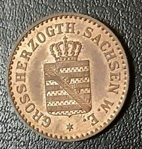 Saxe Weimar Eisenach 1858 B 1 Pfennig Unc Coin Germany German State Uncirculated