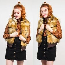 Faux Fur No Pattern Collared Regular Waistcoats for Women
