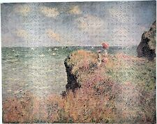 """New Hand Cut Wooden Monet """"The Cliff Walk"""" 605 pc Jigsaw Puzzle in plywood box"""