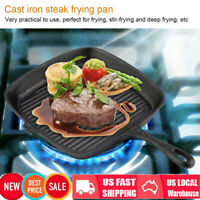 """10"""" Cast Iron Non Stick Fry Steak Frying Pan Grill Pan Skillet Cooking Griddle"""