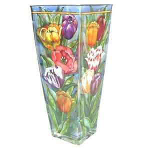 """Amia Studios Vase 10"""" Tall Hand-Painted Stained Glass Bouquet Flowers Tulips"""