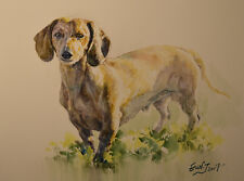 Original Painting by American Fine Artist Grace Eun Jung/ Dachshund Dog