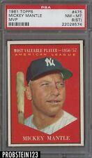 1961 Topps MVP #475 Mickey Mantle HOF PSA 8 NM-MT New York Yankees