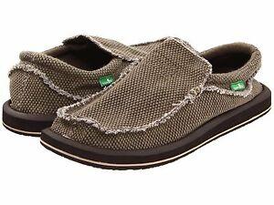 Men's Shoes Sanuk Chiba Slip On Sidewalk Surfers Loafers SMF1047 BROWN